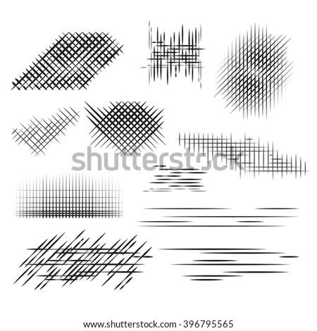 Set pencil strokes, halftone, engraving. Vector element for your design - stock vector