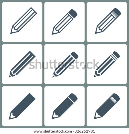 set pencils icons gray color on the white background. stock vector illustration eps10 - stock vector