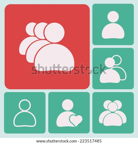 Set people icons - stock vector
