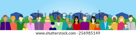 Set people in country or suburb - stock vector