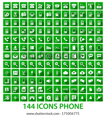 Set phone icon on white background. Vector.