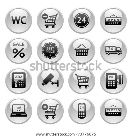 Set pictogram supermarket services, Shopping Icons, Gray round buttons