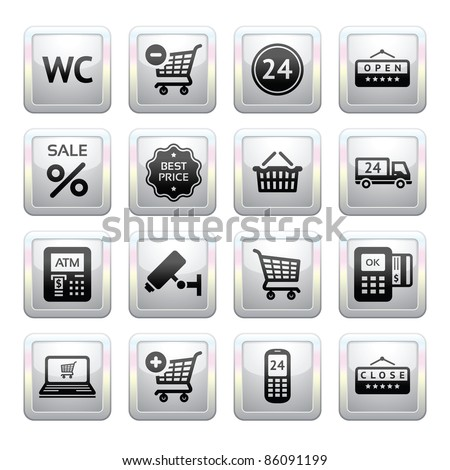 Set pictogram supermarket services, Shopping Icons. Gray. Web 2.0 icons