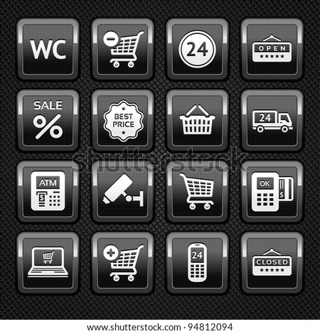 Set pictogram supermarket services, shopping Icons on metal background - stock vector