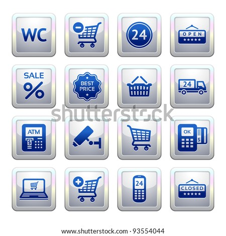 Set pictogram supermarket services, Shopping symbols. Blue. Web 2.0 icons - stock vector