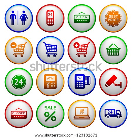 Set pictograms supermarket services, Shopping Icons. Colorful round buttons - stock vector