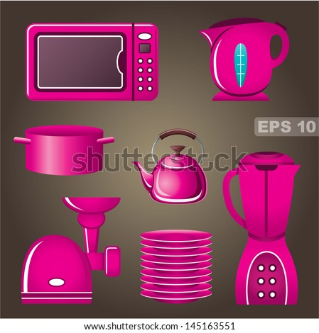 Set pink cookware and kitchen appliances. vector, gradient, EPS10