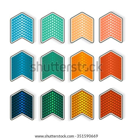 Set pointer in the form of arrows isolated on white background with glow effect and light flares. Vector illustration EPS 10, design elements for brochure layout or button website - stock vector
