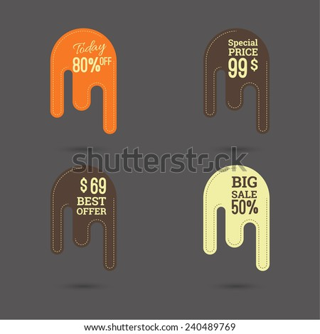 Set price tag. best offer, today 80% off, special price, big sale, best offer. drip banner. - stock vector