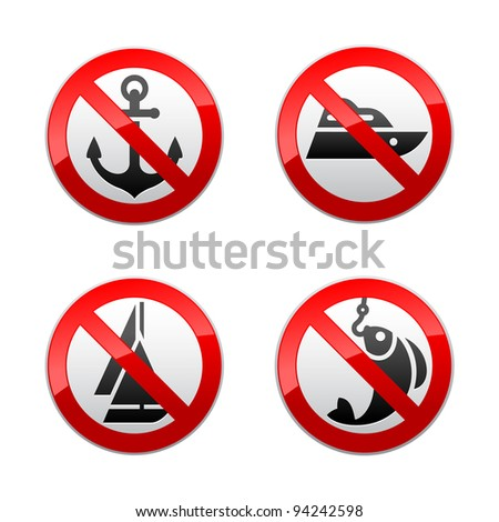 Set prohibited signs - fishing - stock vector