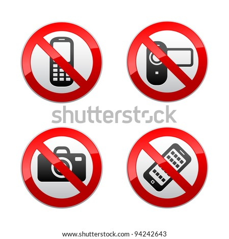 Set prohibited signs - gadget - stock vector