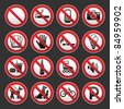 Set Prohibited signs on a gray background - stock vector