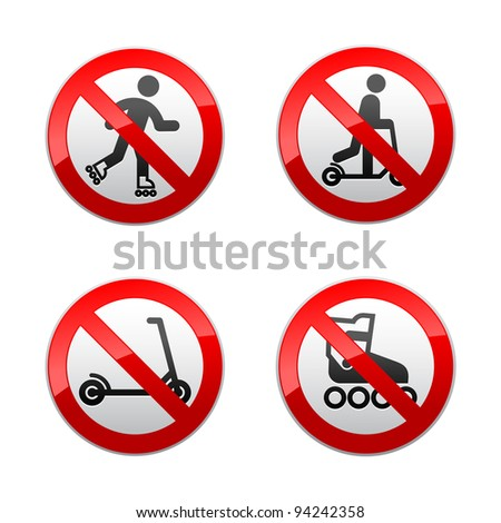 Set prohibited signs - supermarket symbols - stock vector