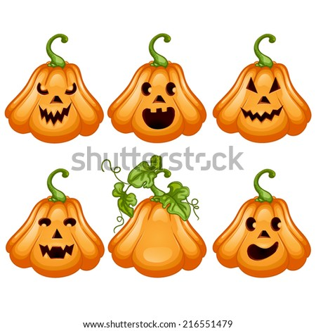 Set pumpkins for Halloween. - stock vector