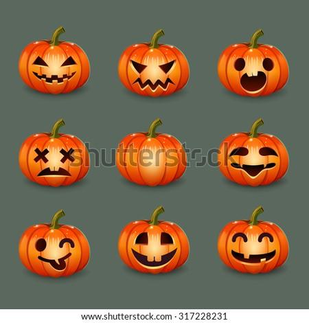Set pumpkins for Halloween - stock vector