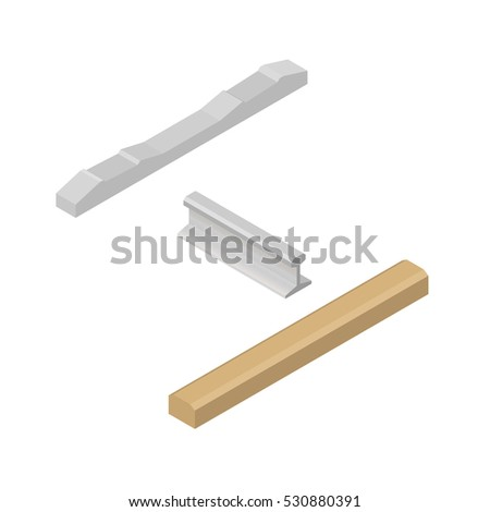 Set railroad design elements isolated on white background. Flat 3D isometric style, vector illustration.