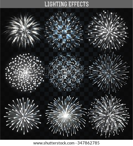 Set 9 realistic firework different shapes. Colorful festive, bright collage, design brochures, poster, wrapping paper, greeting card. Salute with transparency  - stock vector