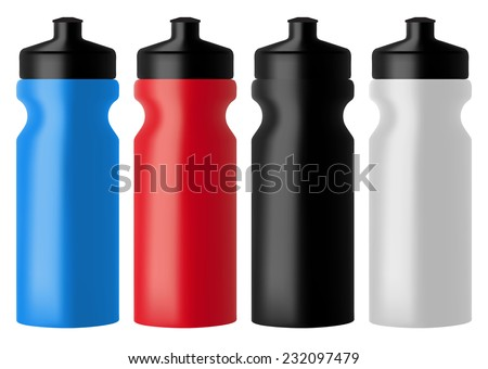 Set realistic sports water bottles - stock vector