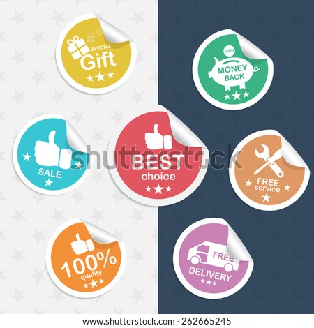 Set realistic sticker: best choice, sale thumb up, 100% quality, gift, free delivery, money back, free service. Vector illustration. - stock vector