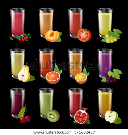 Set realistic transparent glasses of juice on a dark background. Big set of colorful realistic illustration. Drinks with fruit halves. - stock vector