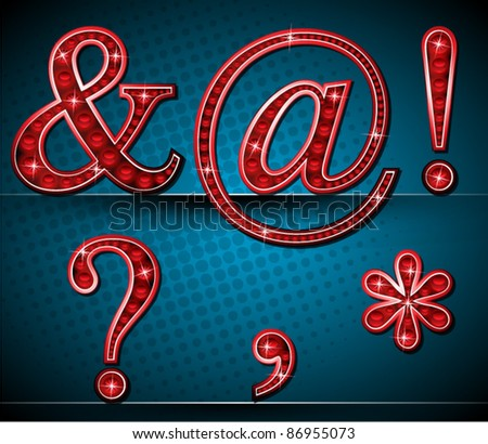 Set Red Alphabet With Shining Lamps - stock vector