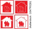 set red icon with family and home silhouette - stock vector