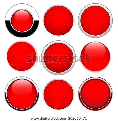 Set red round buttons isolated on white