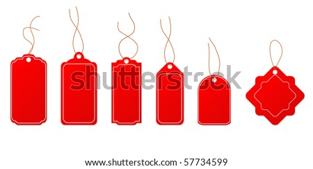 Set Red Tags Isolated On White Background - stock vector
