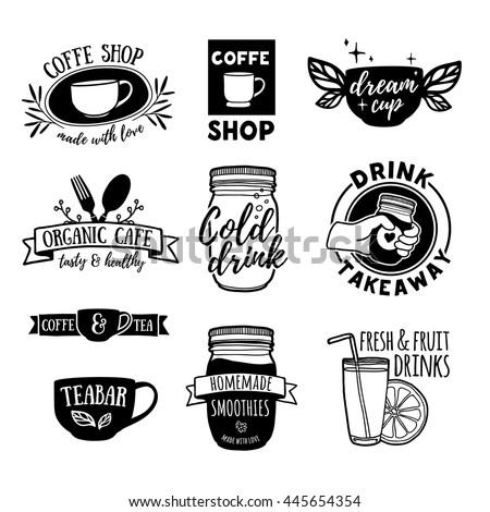 set retro vintage logos coffee shop stock vector 445654354