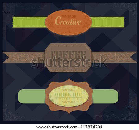 set retro vintage ribbons and label /vector collection - stock vector