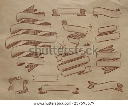 Set ribbons in vintage style stylized drawing on kraft paper - stock vector