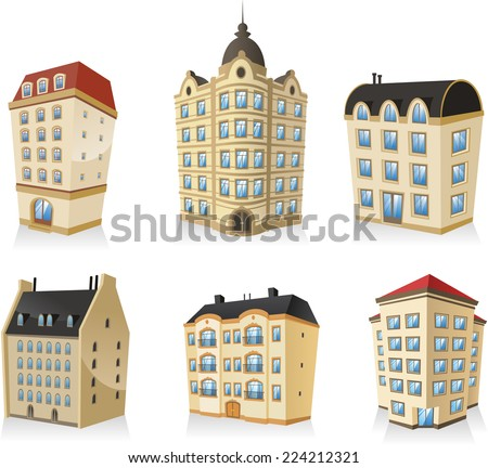set 1, Rich luxury high class Classic building edifice structure construction collection, english style. - stock vector