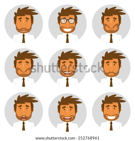 Set round avatars with office manager. Vector illustration. - stock vector