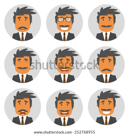 Set round avatars with office manager. Vector illustration. Flat design - stock vector