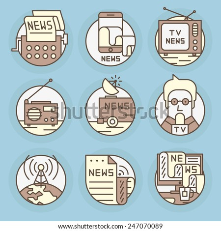 Set round, vector icons.News, television, press, newspapers and magazines, journalism, publications, content, copywriting, text posting. - stock vector