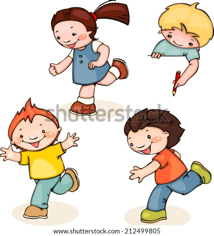 set run school kids. Place for text. holding a blank sign. You can add as - stock vector