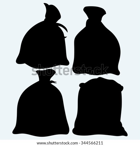 Set sacks of grain. Isolated on blue background. Vector silhouettes - stock vector