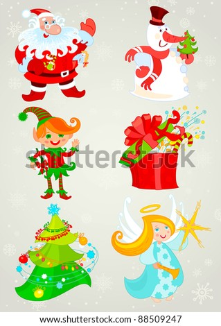 Set, santa claus and snowman, elf and christmas angel, big present and christmas tree. Vector for your design. - stock vector