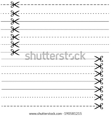 Set - scissors with dashed line - stock vector