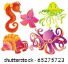 Set sea animals. Jellyfish, octopus, marine, starfish, crab isolated on a white background. Vector - stock vector