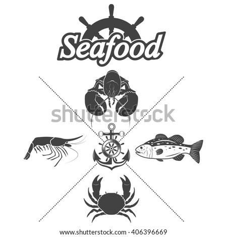 Set seafood symbols - stock vector