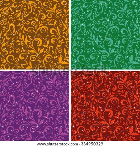 Set Seamless Floral Backgrounds, Patterns of Symbolical Silhouette Plants and Leaves. Vector - stock vector