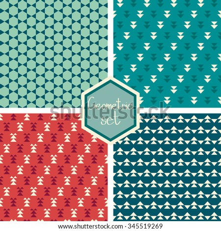 Set. Seamless geometric abstract pattern with triangles. Can be used in textiles, for book design, website background. - stock vector