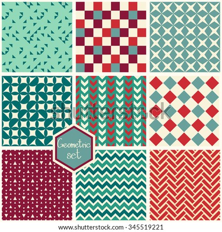 Set. Seamless geometric abstract patterns. Can be used in textiles, for book design, website background. - stock vector
