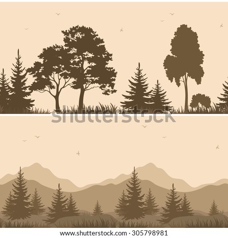 Set Seamless Horizontal Landscapes, Forest and Mountains with Trees and Grass, Birds in the Sky, Brown Silhouettes.  - stock vector