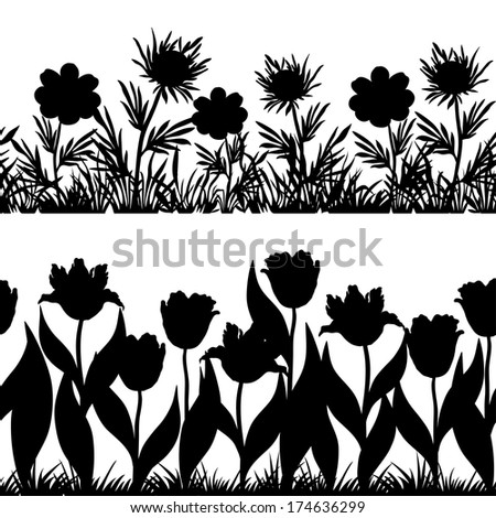Set seamless of flowers and grass, black silhouette isolated on white background. Vector - stock vector