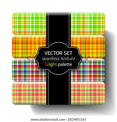 Set. Seamless pattern. Bright. Collection. Seamless textures. Vector. Variegated stripes. Tartan. Plaid. - stock vector