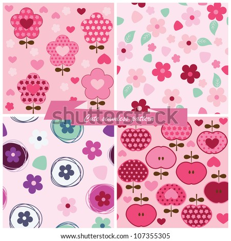Set seamless pattern flowers and apples - stock vector