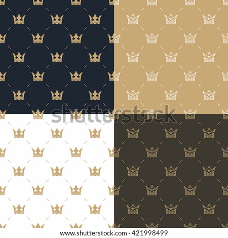 Set seamless pattern in retro style with a white and gold crown on a blue, gold, white and brown background. Vector Illustration