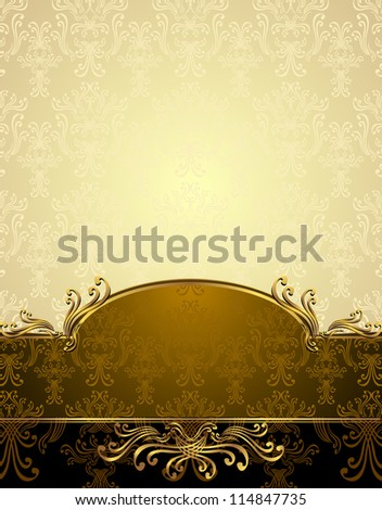 Set Seamless pattern in Victorian style Gold and brown colors - stock vector